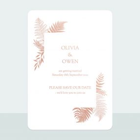 metallic-ferns-foil-save-date-cards
