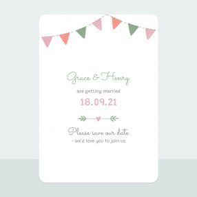 Rustic Bunting - Save the Date Cards