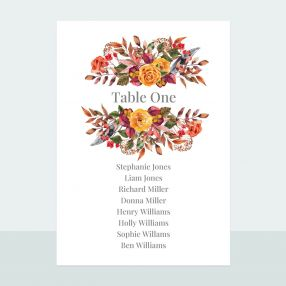 Autumn Bouquet - Table Plan Cards