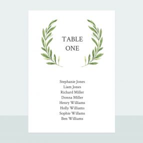 Olive Wreath - Table Plan Cards