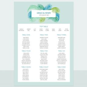 Tropical Fern - Table Plan