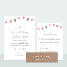 Rustic Bunting - Wedding Invitation & Information Card Suite