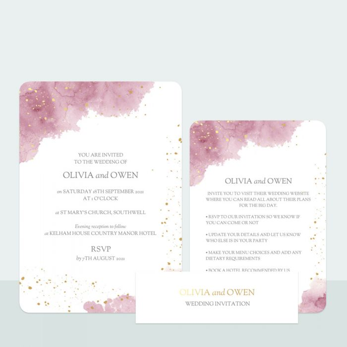 pink-inkwash-foil-wedding-invitation-information-suite
