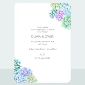 Succulents - Evening Invitation & Information Card Suite