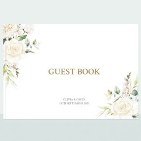 White Roses Wedding Guest Book thumbnail