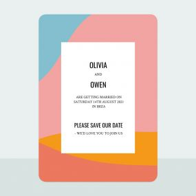 Colour Block Border - Save the Date Cards