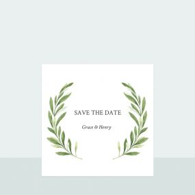 Olive Wreath - Save the Date Cards