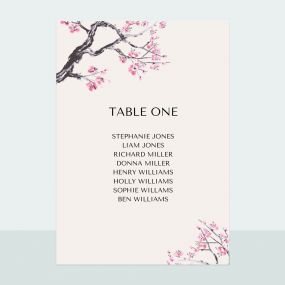 Cherry Blossom - Table Plan Cards
