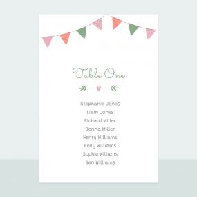Rustic Bunting - Table Plan Cards