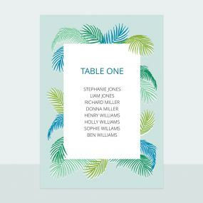 Tropical Fern - Table Plan Cards