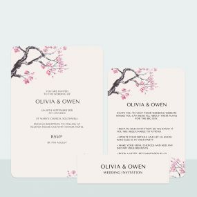 Cherry Blossom - Wedding Invitation & Information Card Suite