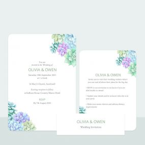Succulents - Wedding Invitation & Information Card Suite