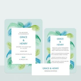 Tropical Fern - Wedding Invitation & Information Card Suite